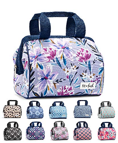 "Fit & Fresh Tulane Floral Lilac Insulated Lunch Bag, Charlotte, 10"" x 7"" x 9"