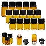 Niome Mini Empty Glass Essential Oil Bottle Amber Refillable Dispenser Jar for Skin