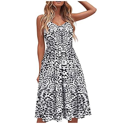 Floral de Espaguetis de Verano para Mujer Vestidos de Longitud Casual de la Rodilla Vestidos Largo Elegante de Fiesta Mujer con Hombros Descubiertos Maxi Vestido de Playa Noche Vacaciones