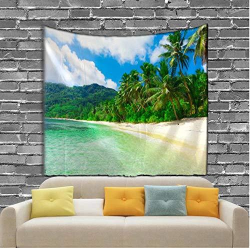 fczka The Seaside Scenery Tapiz Digital Impreso Colgante de Pared Sandy Beach Toalla Verde 59x79 Inches(150x200cm)