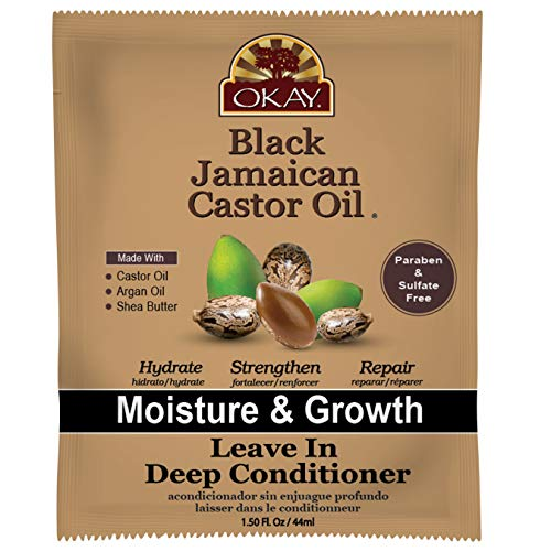OKAY - Black Jamaican Castor Oil Leave-In Conditioner - All Hair Types/Textures - Repair, Moisturize, Grow Healthy Hair - with Argan Oil, Shea Butter - Free of Parabens, Silicones, Sulfates - 1.5 oz