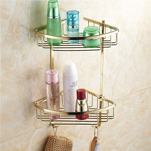 XBR Carritos de Ducha de baño de Alta Calidad Estantes de baño Cesta de jabón de baño de latón Dorado montado en la Pared Estante...