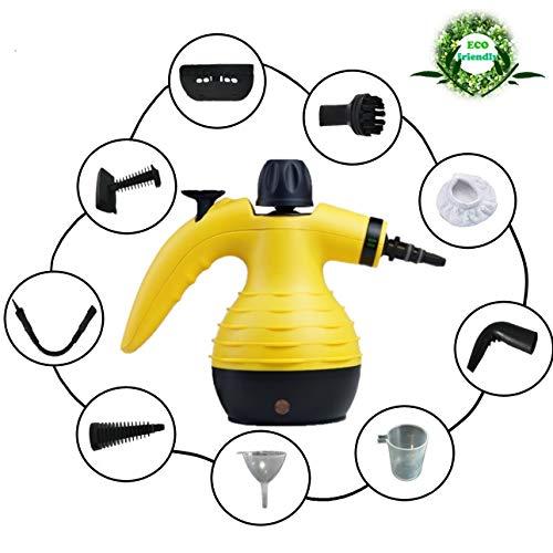Handreiniging stoomreiniger, krachtig, multifunctioneel, voor het verwijderen van vlekken op gestoffeerde meubels in de auto, huis, keuken, tapijt, glas, bank | stoomreiniger met 9 accessoires