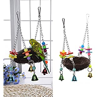 Handcraft Bird's Nest Toys For Birds To Play Bite Climb Bird Swing Toys Parrot Macaw African Greys Budgies Parakeet Cockatiels Cockatoo Conure Lovebird Finch Cage Toy by Awhao:Viralbuzz