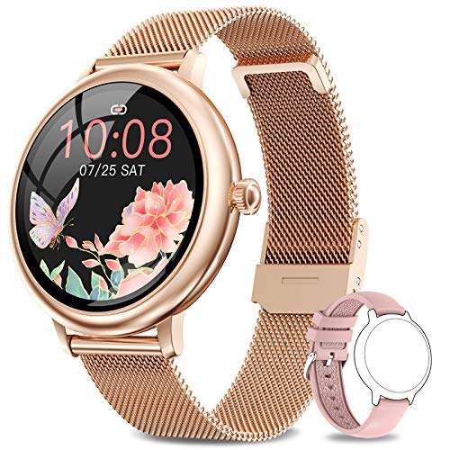 NAIXUES Smartwatch Donna, Orologio Fitness IP67 Impermeabile Smart Watch da Donna Notifiche Messaggi Contapassi Calorie Cardiofrequenzimetro da Polso Activity Tracker per Android iOS Oro Rosa
