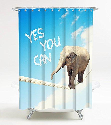 Duschvorhang Yes you can 180 x 200 cm, hochwertige Qualität, 100prozent Polyester, wasserdicht, Anti-Schimmel-Effekt, inkl. 12 Duschvorhangringe