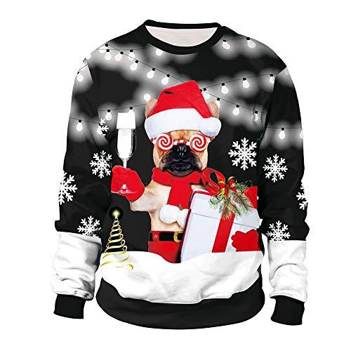 SHUAIFA Mens Womens Novelty 3D Digital Printed Christmas Dog - Xmas Gift Sweatshirt Crew Neck Sweatshirt XL