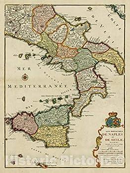 Historic Map - Les Royaumes De Naples et De Sicile/Danet s edtion of Nicolas De Fer s Map of Sicily Southern Italy and Malta 1738 Nicolas de Fer - Vintage Wall Art 24in x 30in