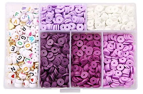 1160 piezas de cuentas de arcilla polimérica, cuentas en escamas de arcilla de 6 mm, cuentas de alfabeto de acrílico, para joyería de bricolaje, pendientes, collares y tobilleras, color morado