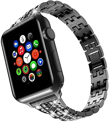 Wilbur - Correa de acero inoxidable resistente al sudor y duradera para Apple Watch de 42 mm, 38 mm, iWatch, 4 3 bandas 44 mm, 40 mm, Negro, blanco, 42 mm