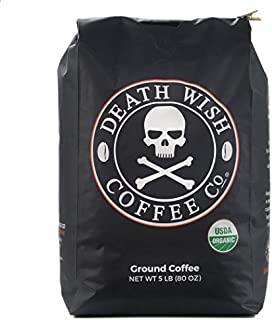 Death Wish Ground Coffee Bulk Deal, The World's Strongest Coffee , Fair Trade and USDA Certified Organic - 5 lb Bag