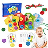 AISHUN Wooden Clothes Lacing Toys for Toddler Threading Toys with 4...