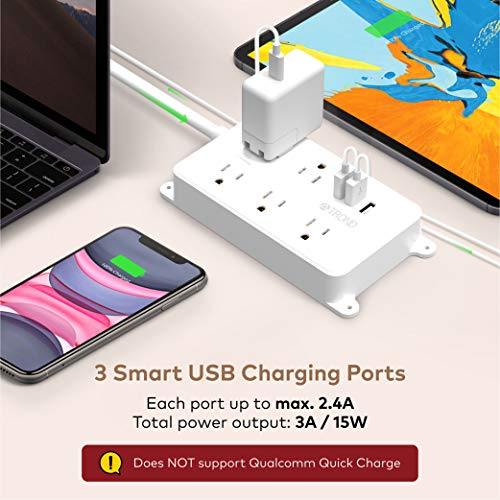 Power Strip Surge Protector, ETL Listed, TROND Flat Plug Outlet Extender with 5 Widely-Spaced Outlets and 3 USB Ports, 1300J, Wall Mountable 5ft Cord, for Computer Garage Kitchen Behind TV, White 4