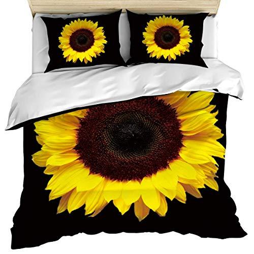 Funda nórdica de lujo, funda nórdica floral Sunflower Farm Nature, funda nórdica y fundas de almohada, juego de cama de 3 piezas, juego de funda nórdica suave / acogedora de algodón negro rústico Flow