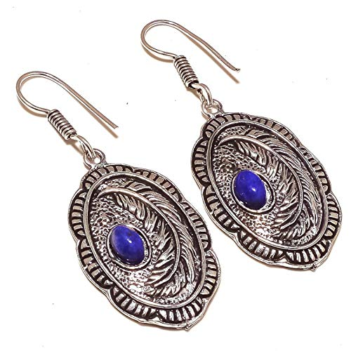 PENDIENTE de estilo antiguo para regalo de 2 'de largo azul lapislázuli plateado, joyería hecha a mano de Shivi