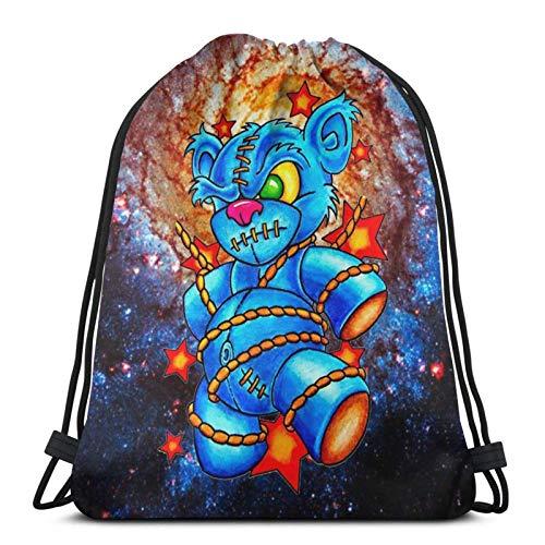 New School Teddy Bear Tattoo Kordelzug Taschen Sporttasche, Polyester Cinch Sack, wasserdichte Sporttaschen School Daypack