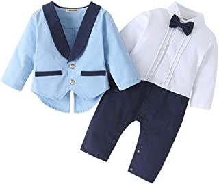 Lausana Baby Boy Gentleman Outfits Suits Long Sleeve Jumpsuit + Vest +Berets + Bow Tie Infant Pant Sets 4 pcs