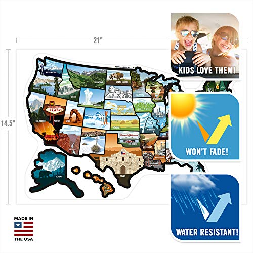 """Product Image 6: SEE MANY PLACES .com RV State Stickers United States Travel Camper Map RV Decals for Window, Door, or Wall ~ Includes 50 State Decal Stickers with Scenic Illustrations (21"""" x 14.5""""/Large) See Many Pla"""