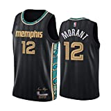 LYY Jerseys De Baloncesto para Hombres, Memphis Grizzlies # 12 JA Morant - Cool Transpirable Chaleco De Secado Rápido Uniformes Classic Comfort Camiseta Sin Mangas Tops,Negro,L(180~185CM)