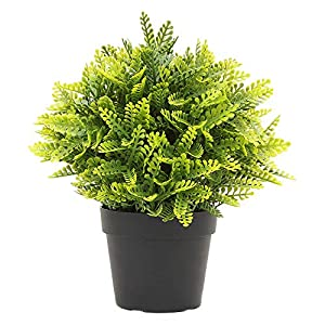 ECOOPTS Artificial Topiaries Pots Plants Mini Plant Potted Plastic in Pots Fake Lifelike Mimosa Flower Green Decoare for Home Decore Indoor Outdoor Decoration, 1 Pack