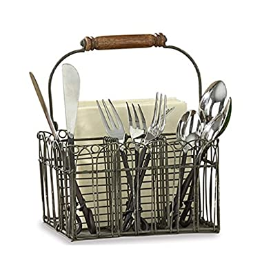 Tasteful Home Decor Vintage Wire Flatware and Napkin Caddy,Grey