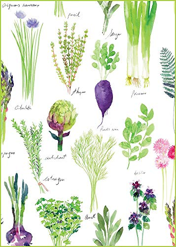 Garnier-Thiebaut, Mille Potager, Printemps (Springtime Plantaardige Tuin) Frans Bedrukte Keuken/Theedoek, 100 procent Katoen, Alles in het Frans