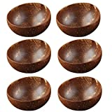 12-15cm Protección de cuenco de coco natural Tazón de madera Coco Smoothie Coconut Cocina Ambiental Coconut Madera Vajilla Cucharada Set Cuenco de cocina (Color : 6 bowl)
