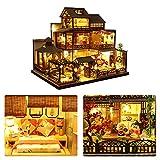 Rubyu Kit 3D Dollhouse,Kit De Maison De Poupée Bricolage,Miniature Dollhouse avec des Meubles, Kit Bricolage Dollhouse Bois, Salle Créative pour L'idée Cadeau Saint Valentin(5.2x26.5x30CM)