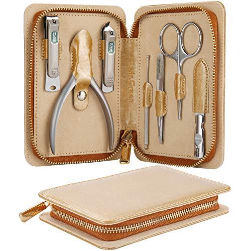 Set regalo per tagliaunghie Mr. Green, kit per manicure e pedicure per manicure in acciaio inox professionale con custodia in pelle, Regali di San Valentino (Mr-6006 7 pezzi)
