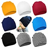 DRESHOW BQUBO 8 Pack Baby Hat Beanies Infant Toddler Hats for Boys Newborn Soft Cute Knit Hospital Hats for Babies Boys Beanie Cap