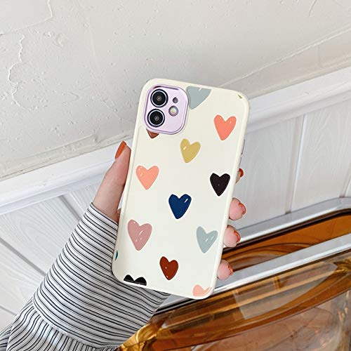 VHR Fundas Cute Love Heart Flower Leaf Phone Case para iPhone 12 11 Pro MAX 12 Mini 8 7 Plus X XS MAX XR Marble Wartercolor Painting Cover para iPhone 12Pro MAX T1