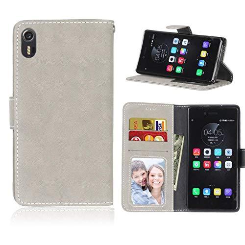 ShuiSu Flip Cover Hülle für Lenovo Vibe Shot / Z90, Retro Bereift PU Leder Weiche Silikon Magnetverschluss Klappständer Brieftasche Kartenfächer Handy Schutzhülle -Grau