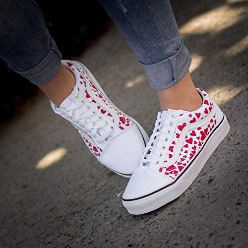 Vans Women's Old Skool (Valentines Hearts) True White/Racing Red Skate Shoe (True White/Racing Red, Numeric_8_Point_5)