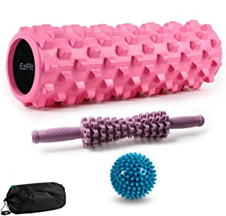 Foam Roller Massage Stick and Ball 3 Pieces Set for Deep Tissue Muscle Massage,Trigger Point Therapy Myofascial Release and Fitness Yoga Pilates