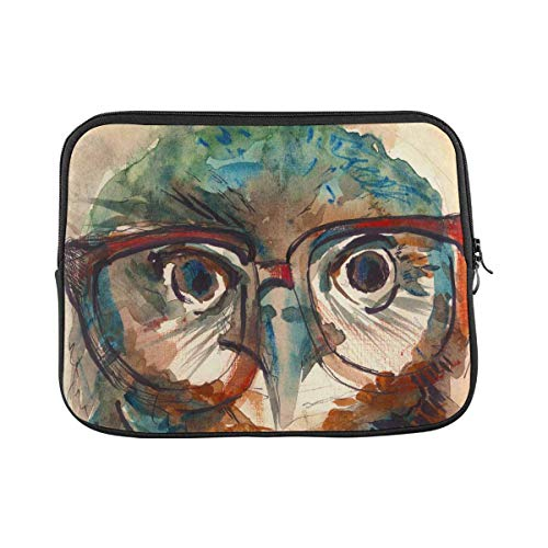 Watercolor Wise Owl Laptop Sleeve Case 15 15.6 Inch Briefcase Cover Protective Notebook Laptop Bag