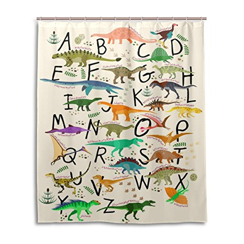 ALAZA U LIFE Dinosaurs Alphabet Decorative Shower Curtain Curtains for Bathroom Tub 60 x 72 inch