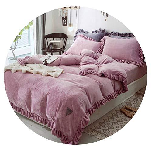 Moon Home Textil 4-teiliges Bettwäsche-Set, verdickte samtige Plissee-Spitze, King-Size-Bettbezug, Bettlaken, Kissenbezüge, 7, Queen-Size-Größe, 4 Stück, baumwolle, 7, QueenSize4pcs