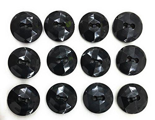 12 Black Buttons SET- 5/8
