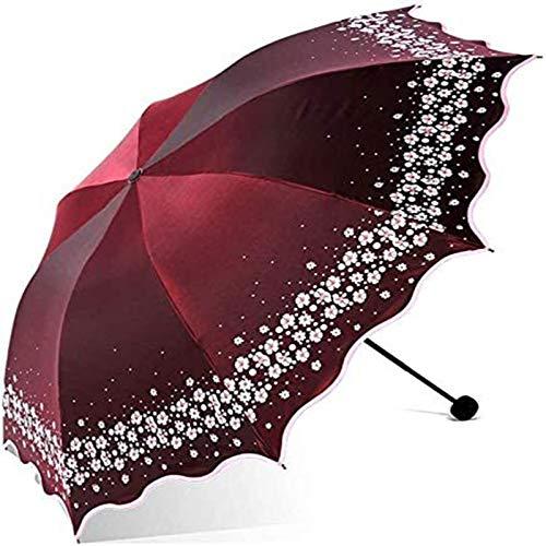 MJMJ sombrilla Paraguas Reflectante Parasol Hermosa Y Brillante Paraguas De Dama Flor Anti-UV Paraguas De Protección Solar Paraguas Plegable Al Aire Libre Regalo Paraguas Soleado(Color:A)