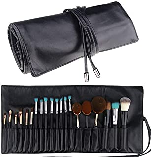 Relavel Makeup Brush Rolling Case Pouch Holder Cosmetic Bag Organizer Travel Portable 18 Pockets Cosmetics Brushes Black L...