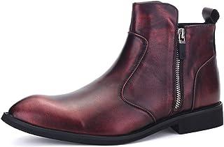 Chaussures de l'homme en cuir, décontracté, robe f Bottes de pluie en cuir PU pour hommes Casual High Top Plat Chaussures ...
