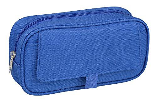 Idena 21421 - Estuche con solapa y 1 compartimento, tamaño 23,5 x 12,5 x 5,5 cm, color azul, 1 pieza