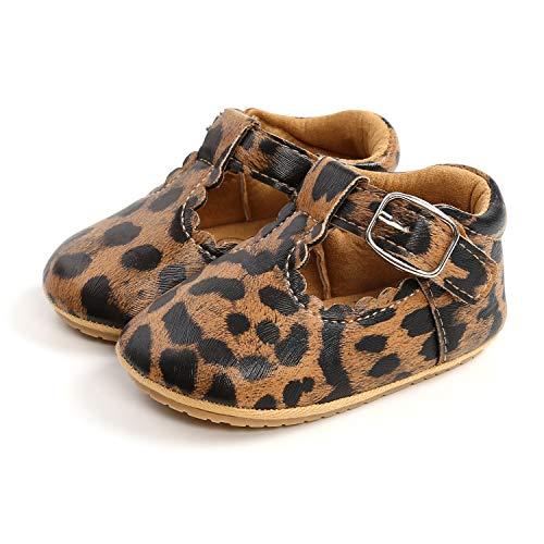 033 Zapatos para bebé – Zapatos Oxford de piel sintética con cordones, antideslizantes, suela de goma suave para niños pequeños leopardo 0-6 meses
