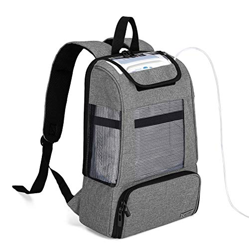 CURMIO Portable Oxygen Concentrators Backpack, Universal POC Travel Carrying Bag with Mesh Panels for Breathability, Compatible for Inogen, Oxygo, Caire Units, Perfect for on-The-go,Gray-Bag ONLY