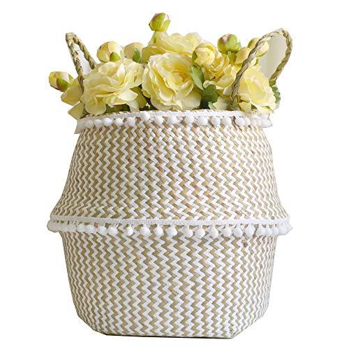 Szetosy - Cesta de junco para almacenamiento de Goodchance UK, con pompones. Cesta plegable tejida y con asa para ropa, juguetes, plantas o para usar en el cuarto del bebé, Estilo#1, 27x24cm