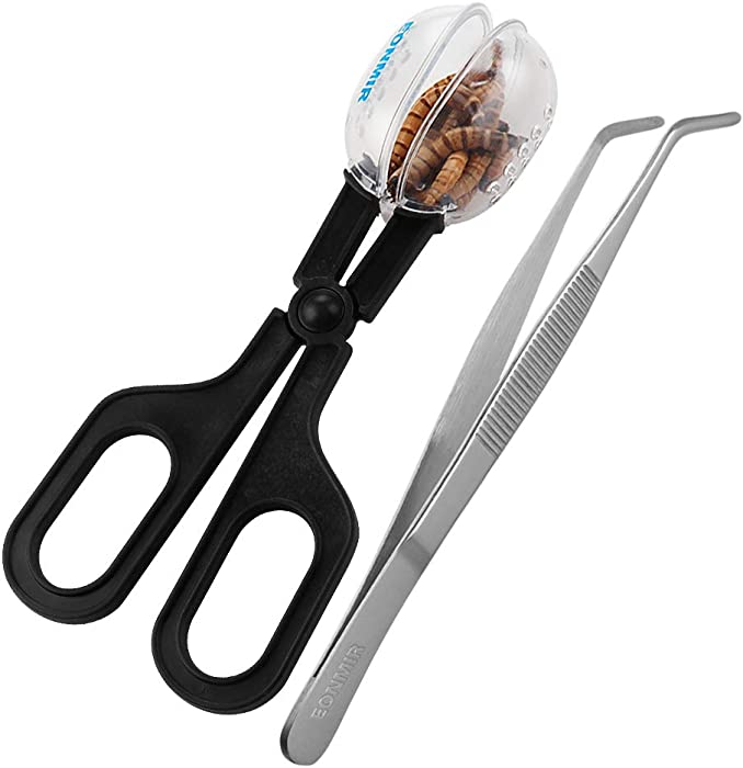 EONMIR Feeding Tool, Cleaning Supplies Scooper and Tweezers for Reptile, Hedgehog, Hamsters, Guinea Pig, Rat, Lizard and Other Small Animals Supplies
