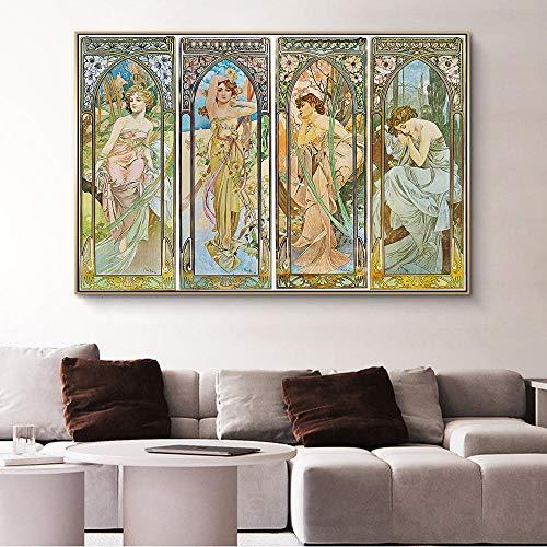 Y fodoro Rompecabezas de Alphonse Mucha, Adultos Times of Day Vintage Art Nouveau Woman Rompecabezas de Madera de 1000 Piezas, Juguetes para niños Adolescentes