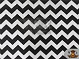 Polycotton Printed Fabric Small Chevron BLACK WHITE / 60' Wide/Sold by the yard