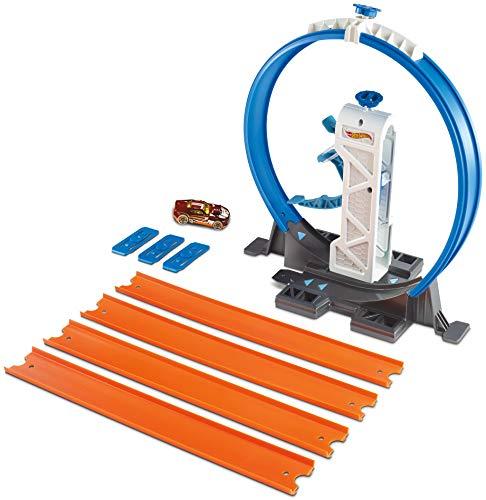 Hot Wheels DMH51 Track Builder Basis Set Looping Starter, Spielset mit Verbindungsteilen und Tracks inkl. 1 Spielzeugauto, ab 6 Jahren