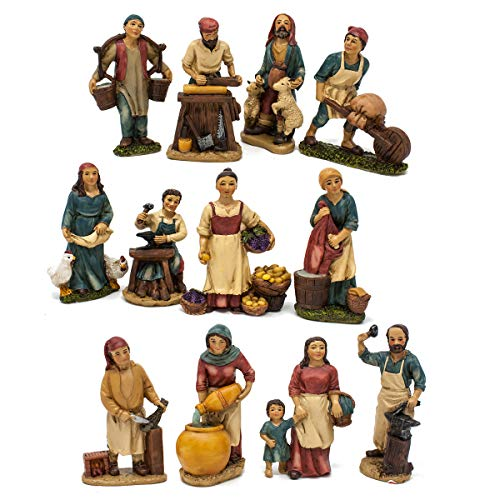 Joy Christmas Pastori Mestieri in Resina 10 cm per Presepe Set 12 Pezzi Assortiti - 46002